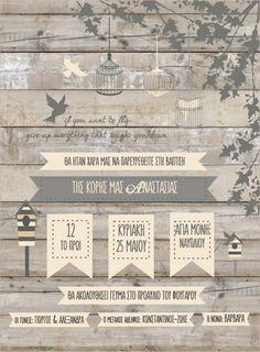 Προσκλητήριο βάπτισης κλουβιά και σπιτάκια πουλιών σε καφέ-γκρί ξύλο Baptism Invitations, Wedding Invitations, Wedding Invitation Cards, Wedding Invitation, Wedding Announcements, Wedding Invitation Design