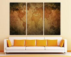 24 best 3 panel split abstract world map canvas print images on 3 panel split abstract world map canvas print15 deep framestriptych yellow and black map for homeoffice wall decor interior design gumiabroncs Image collections