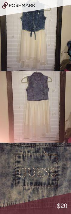 Guess dress Super cute girls guess dress 👗!! Jean top hi lo dress !! Excellent condition!! Guess Dresses