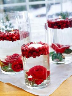 Place red flowers, such as roses and amaryllises, and greenery in a metal flower frog. Attach the frog inside the cylinder using double-sided florist's tape. Cover the flowers with water, float cranberries on top and place a floating candle amid the berries. Change water daily. The piece should last up to seven days.