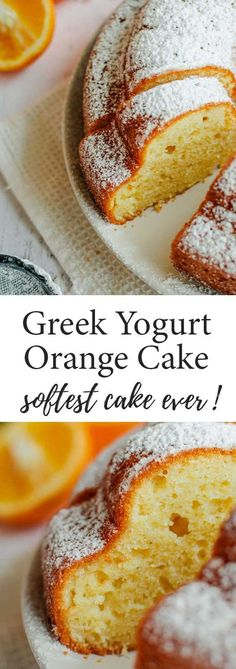 This healthy Yogurt Orange Cake With Olive Oil is the softest and airiest you'll ever taste! Just mix everything in a bowl with a hand whisk and bake. #cake #orange #yogurt #no-mixer