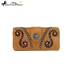 Made of PU leather, this tri-fold clutch/wallet has: A concho on the fornt Silver embellishments with stitches design Single removeable strap to convert the wallet into a wristlet A zippered pocket o