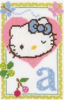 Tableau point de croix hello kitty lettre a - Vervaco