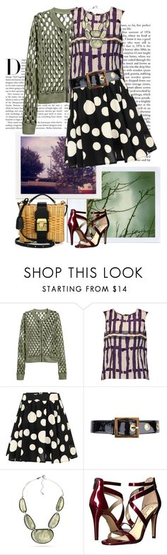 """Plum, sage, black, and white."" by clothesmonkey ❤ liked on Polyvore featuring Polaroid, Karl Lagerfeld, H&M, Marni, Gucci, Kim Rogers, Jessica Simpson and Mark Cross"