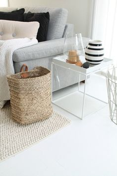 Hay tray table and dot pillow - I have both! Decor, House Design, Home Living Room, Home Furnishings, Home N Decor, House Interior, Home Deco, Interior Design, Home And Living