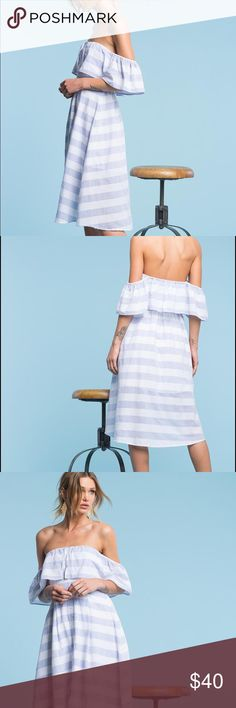 Off Shoulder Blue Stripped Cotton Dress - Like New Soft and flowy blue stripped dress - super flattering and like new! I wore for my bridal shower a'gaci Dresses Midi