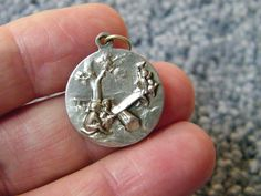 Antique Art Nouveau German 800 Silver Repousse - Children on Swing - Charm US $95,00