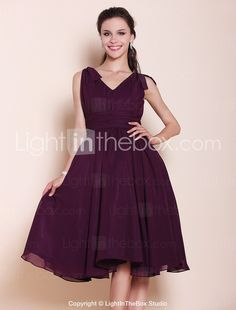Knee-length Chiffon Bridesmaid Dress - Grape Plus Sizes / Petite A-line / Princess V-neck 2015 – $69.99