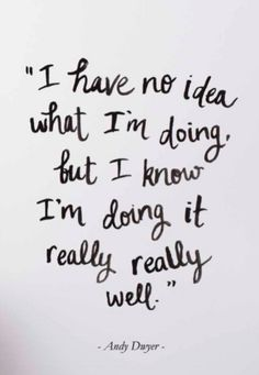 """I have no idea what I'm doing, but I know I'm doing it really really well."" -Andy Dwyer"