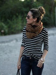 Scarfs and sunglasses to dress up a shirt and jeans