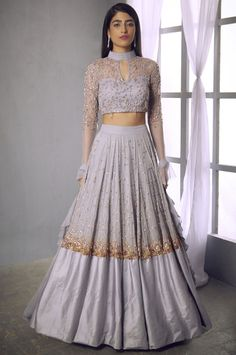 Buy Embellished Floral Lehenga Set by Shloka Khialani at Aza Fashions Indian Gowns Dresses, Indian Fashion Dresses, Dress Indian Style, Indian Bridal Outfits, Indian Designer Outfits, Fashion Outfits, Netted Blouse Designs, Floral Lehenga, Designer Party Wear Dresses