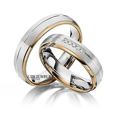 His and Hers Wedding Rings,14K Two Tone Gold Matching Wedding Bands with Diamond #LTBJEWELRY #WithDiamonds