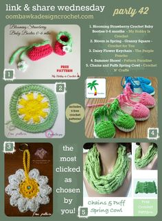 1. Blooming Strawberry Crochet Baby Booties 0-6 months Free Crochet Pattern – My Hobby Is Crochet 2. Bloom in Spring – Granny Square – Croch...