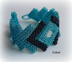 Teal seed bead cuff bracelet, Statement bracelet, Beadwork, Unique jewelry, Right Angle Weave, OOAK