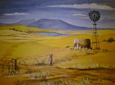 Oos-Vrystaat near Clocolan. My first acrylic painting! Windmill Art, Old Windmills, Landscape Art, Landscape Paintings, Painting & Drawing, Painting Styles, South African Artists, Encaustic Art, Great Paintings