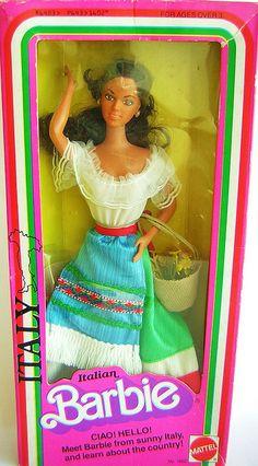 1979 DOTW Italian Barbie- loved her. I thought she looked like Sesame Street's Maria.