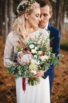 boho braided bride with abundant native wedding bouquet