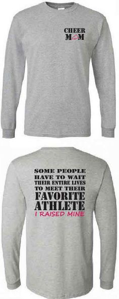 $22.99. Cheer mom shirt. Favorite athlete. Long sleeve in white or gray. #cheerleading #ad
