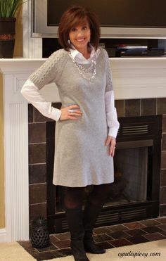 What I Wore-My StyleGray Sweater dress~Banana Republic (after Christmas sales) White Button Down~Banana Republic Black Wedge boots~TJ Maxx Necklace & Earrings~Fransesca's