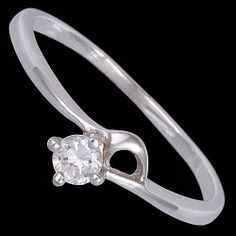 Silver ring, zirconia, delicate Silver ring, Ag 925/1000 - sterling silver. With stone (Cubic zirconia). Delicate floral design. Width at the place of pattern approx. 4mm.