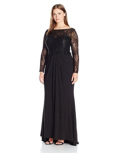 Plus Size Wedding Guest Dresses - Mac Duggal Women's Plus Size Black Gown with Lace and Jewel Details (sponsored) Plus Size Wedding Guest Dresses, Plus Size Formal Dresses, Plus Size Gowns, Formal Evening Dresses, Long Dresses, Evening Dresses Melbourne, Beaded Chiffon, Special Occasion Dresses, Plus Size Fashion