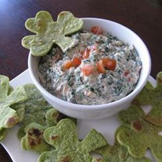 Easy Spinach Dip Allrecipes.com  This dip is super good! I used a shamrock cookie cutter to cut out shapes from spinach tortillas, drizzled w/oil & salt and baked 350 till crispy.  #MyAllrecipes  #AllrecipesAllstars