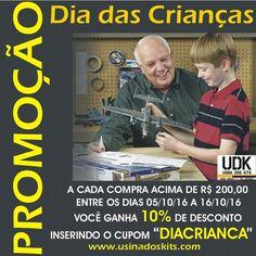 """Amigos do plastimodelismo o dia das crianças começa antes na UDK. Estamos lançando a promoção do Dia das Crianças com desconto de 10% para todas as compras acima de R$ 20000. Basta inserir o código """"DIACRIANCA"""" no campo """"Cupom de desconto?"""" que aparecerá durante os passos da compra. NÃO PERCA ESSA OPORTUNIDADE. Acesse: www.usinadoskits.com  #usinadoskits #udk #diadacriança #desconto #lojaonline #ecommerce"""