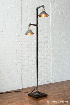 Industrial Floor Lamp Metal Shade Edison Bulb Lamp