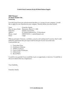 Contoh Cover Letter Bahasa Inggris Untuk Fresh Graduate Admin Surat