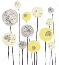 Yellow and Grey Seed head Spheres Abstract Illustration, Jo Clark Designs