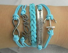 Inspirational braceletsky blue wax rope weaving by jewellrydesign, $10.99