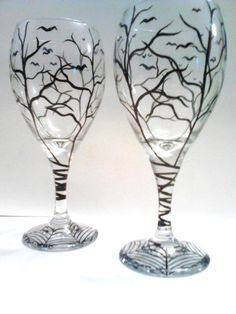 Haunted Halloween Hand Painted Wine Glasses by TheScarletLine