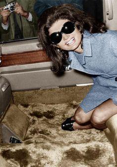 Jackie Kennedy Onassis leaves Heathrow with Aristotle Onassis: 15 November 1968