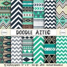 SALE Doodle Aztec Scrapbook Digital Paper Instant by cyamonday, $3.00