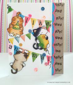Cat Birthday Cad by Tatiana | Newton's Birthday Bash stamp set by Newton's Nook Designs