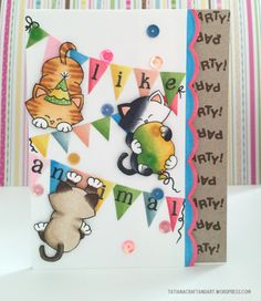 Cat Birthday Cad by Tatiana | Newton's Birthday Bash stamp set by Newton's Nook Designs