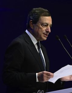 President of the European Central Bank Mario Draghi urges governments for decisive action to solve the european debt crisis during the annual meeting of the Federation of German Industries in Berlin.