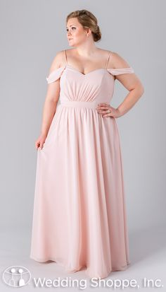 This luxe chiffon bridesmaid dress features a V-neckline with both spaghetti and off-the-shoulder straps for a unique, open-shoulder look.