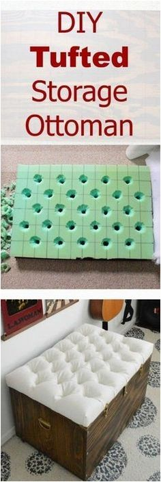 Hardest Button to Button: A DIY Tufted Storage Ottoman. Tutorial for how to create a button tufted ottoman. Love the Antico Allover stenciled rug. Tutorial for how to create a button tufted ottoman. Love the Antico Allover stenciled rug. Diy Projects To Try, Home Projects, Home Crafts, Diy Home Decor, Craft Projects, Diy Crafts, Craft Ideas, Decor Ideas, Sewing Projects