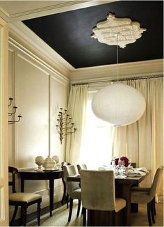 """what about a black ceiling in the bathroom?  you could either do crown molding like in this photo OR paint the black 12-18"""" down the walls, do a 'chair rail' trim and then paint the rest of the walls another color... (think of my master bathroom) you could do a color or do a medium tan/grey like in that other photo.... ?  I think this would be a great combination.  then maybe bright silver/chrome accents??  oooh...."""