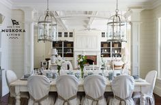 """Put a bird on it! (Or in it in this case!) This season it's all about a new silhouette, the bird cage! (Try something simple like these clean line clear glass pendants or go #glam with the """"Corsica"""" by Currey & CO.) (Found on muskokalivinginteriors.com)"""