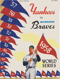 """1958 WORLD SERIES New York Yankees vs Milwaukee Braves Poster • 100% Mint unused condition • Well discounted price + we combine shipping • Click on image for awesome view • Poster is 12"""" x 18"""" • Semi-Gloss Finish • Great baseball Collectible - superb copy of original • Usually ships within 72 hours or less with tracking. • Satisfaction guaranteed or your money back. Available at: Sportsworldwest.com"""