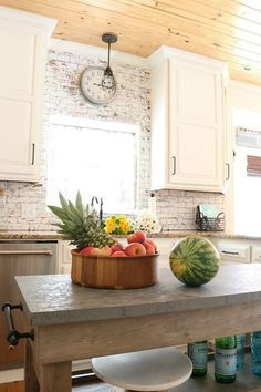 Painted-brick-shiplap-ceiling-and-white-cabinets-farmhouse-looking-kitchen #ad Better Homes and Gardens from Walmart