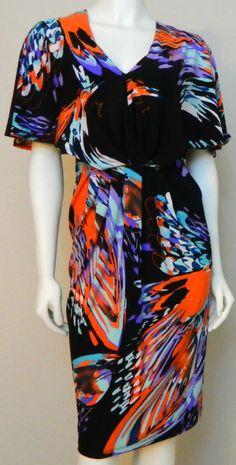 NEW KASPER Black Watercolor Batwing Dolman Ruched Matte Jersey Dress XL 65%OFF #Kasper #Blouson #LittleBlackDress