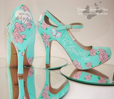 Hand painted wedding shoes and occasion shoes Gemma Kenward has painted for customers all over the world. Yellow Wedding Shoes, Silver Wedding Shoes, Cinderella Pumpkin Carriage, Occasion Shoes, Shoe Gallery, Mickey Mouse Ears, Hand Painted Shoes, Shoe Company, Bride Shoes