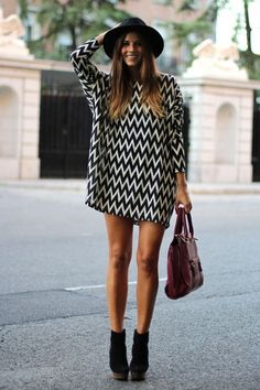 $50 - $100 Cute Sweater Jumper Dress Black And White Zig Zag Design With Black Spring Summer Time Boots And Black Hat