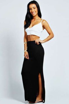 Elora Slim Fit Side Split Column Maxi Skirt