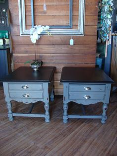 These Two Matching End Tables Were Painted In Maison Blanche Confederate  Gray And Wrought Iron.