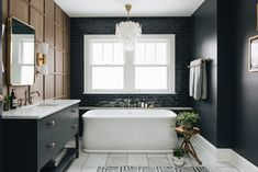 White Bathtub with Black Glazed Subway Tiles - Transitional - Bathroom Pink Bathroom Tiles, Bathroom Renos, Bathroom Colors, Master Bathroom, Colorful Bathroom, Bathroom Ideas, Bathroom Tubs, Bad Inspiration, Bathroom Inspiration