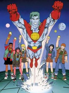 Captain Planet, he's our hero; gonna take pollution down to zero!.... Earth, wind, fire, water, heart! With you powers combined, I am Captain Planet!!!!!